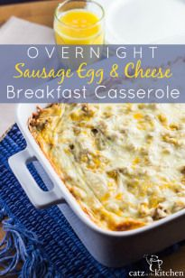 This overnight sausage egg and cheese breakfast casserole recipe is simple to prepare, and so convenient when you don't have time to cook in the morning!