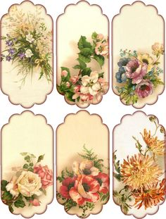 Paper Crafts – Vintage Pieces for Collage/Altered Art – Floral Hang Tags without text...