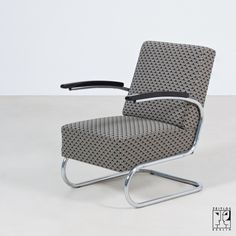 1930s original tubular steel armchair with Art Deco fabric cover - 1950 €
