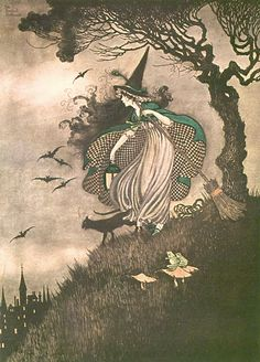 "Ida Rentoul Outhwaite (1888 – 1960), ""The Witch on her Broomstick"""