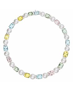 A Cultured Pearl, Multi-Gem, and Diamond Necklace  Designed as a line of cushion-cut aquamarine, morganite, green beryl and yellow beryl, weighing approximately 69.49 carats in total, interspersed by cultured pearls, measuring approximately 10.00-13.00 mm, and pavé-set diamond spacer links, mounted in 18K white gold, length 16 1/2 inches.  Via Philips.