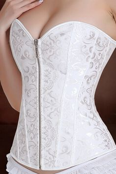 Smooth satin floral bridal corset features a sweetheart neckline with a classic push up look.