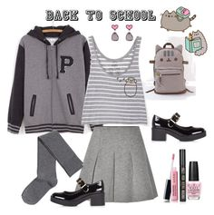 """""""#PVxPusheen"""" by marionmeyer on Polyvore featuring Pusheen, T By Alexander Wang, H&M, River Island, Avon, OPI, Topshop, contestentry and PVxPusheen"""