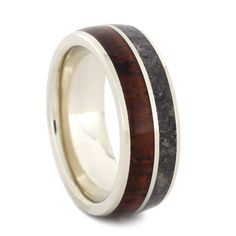 Dinosaur Bone Wedding Band Wooden Ring With 14k by jewelrybyjohan