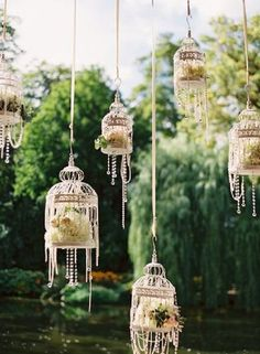 Hanging Birdcage Wedding Decor / http://www.deerpearlflowers.com/hanging-wedding-decor-ideas/2/