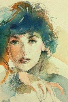 Kazuo Kasai (b Japan) - watercolor Japan Watercolor, Watercolor Face, Watercolor Artists, Watercolor Portraits, Watercolour Painting, Painting & Drawing, Watercolours, Watercolour Tutorials, Watercolor Techniques