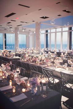 California wedding reception looking over the ocean