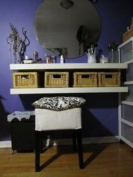 easy makeup vanity, shelves instead of a desk