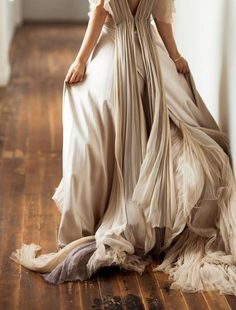Flowing evening gown with pleated detail