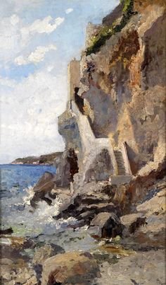 Exquisite Oil painting impressionism seascape by beach with waves rocks canvas