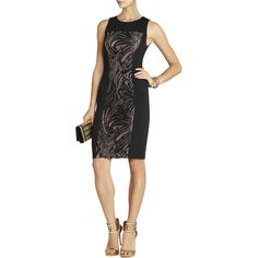 Bcbg Maxazria Leona Lace Dress with Contrast Ponte Dress ($84) ❤ liked on Polyvore featuring dresses, black, sleeveless cocktail dress, cocktail dresses, ponte dress, sleeveless jersey and jersey evening dresses