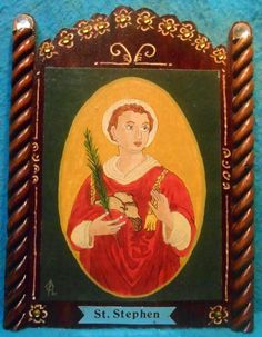 St. Stephen Retablo - Feast Day December 26 - pinned by pin4etsy.com