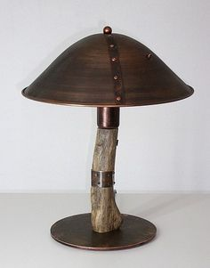 Table copper lamp.