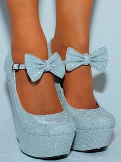 Ladies Silver Sparkly Metallic High Heels Wedges Glitter Wedged Bow Detail Shoes Platforms: Amazon.co.uk: Shoes & Bags