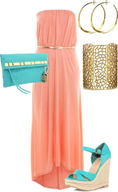 pink maxi with turquoise/gold accessories