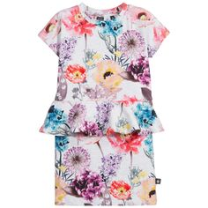 Molo Grey Floral Peplum 'Christina' Dress at Childrensalon.com