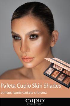 Stralucire, bronz si sculptare cu noua paleta pentru fata Skin Shades.  Paleta cu 6 culori pentru contur, luminozitate si bronz.  Textura fina cu particule care reflecta lumina si lasa un aspect neted. Se aplica pe ten pentru conturare, luminozitate si un aspect bronzat. Se poate aplica pe pleoape si pe corp. Skin Shades, Makeup Eye Looks, Bronze, Face Skin, Palette, Eyeshadow Makeup, Make Up, Tatoo, Face