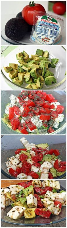 2 avocados, 2 – 3 tomatoes, 1 ball fresh mozzarella cheese, 2 Tbsp extra virgin olive oil, 2 tsp. basil, salt & pepper