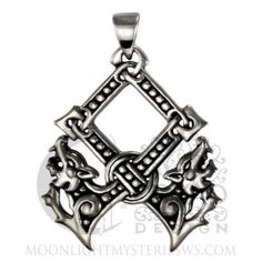 An OTHALA NORSE RUNE Pendant .925 Silver WOLVES Protection Dryad Design PROSPERITY