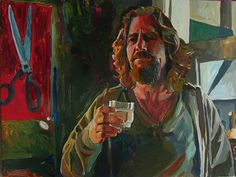 """The Dude & His White Russian"" original art from The Big Lebowski Series by Chuck Hamilton, A. T. Hun Art Gallery, Savannah, Ga.  16"" X 20"" print available online at athun.com."