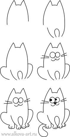 Как нарисовать ребенку кота?