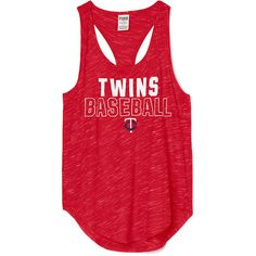PINK Minnesota Twins Racerback Tank ($25) ❤ liked on Polyvore featuring tops, blue, racerback tank, racerback tank top, blue top, red racerback tank and red top