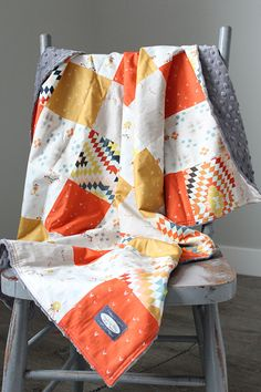 Patchwork Baby Blanket Coral Mustard and Navy by GiggleSixBaby
