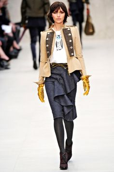 Burberry Prorsum: London Fashion Week Fall 2012    I love the yellow gloves and peplum military jacket!