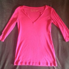 Victoria's Secret half sleeve pink shirt Pink half sleeve, v neck cut cotton shirt. No size tag. Medium fit. Victoria's Secret Tops Tees - Long Sleeve