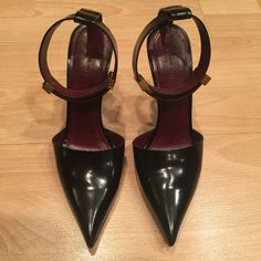 Celine pointed high heels 100% authentic Celine shoes. Black semi-patent leather. Leather soles. Made in Italy. Worn ones, purchased from Neiman Marcus Last Call for a $500+tax. To high for me. Trying to sale them and made my money back. Price is firm, no trades or PayPal. Celine Shoes Heels