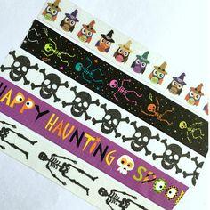 Washi Tape Halloween Owl Skeleton Spooky Black Orange