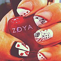 Im so doing vegas nails when we go! Vegas Nail Art, Las Vegas Nails, Great Nails, Fun Nails, Amazing Nails, Winter Nails, Summer Nails, Nails 2014, Shoe Nails