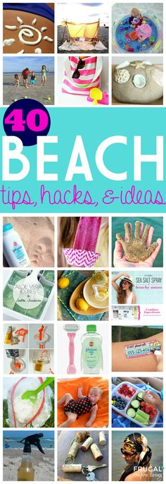 40 Beach Tips and Tricks - Hacks and Ideas for Your Trip to the Sand. Round-Up on Frugal Coupon Living. #beach #hacks #tips #summer #summertime #beachideas #beachhacks #beachtips