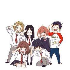 ♡seka iwa koi ni ochiteiru hikari no ya mone wo sasu kimi wo wakari ta in tayo neee~ ochihiete. Anime Chibi, Manga Anime, Anime Kawaii, Manga Art, Ao Haru Ride Anime, Anime Couples, Cute Couples, Tanaka Kou, Futaba Y Kou