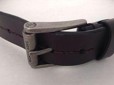 Michael Kors Mens Dark Brown Genuine Leather Belt & Kors Belt Buckle Size 34 #MichaelKors