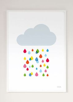 Quince Living - Showler & Showler Multicoloured Rain Drop Cloud Art Print   Art Prints and Childrens   Quince Living