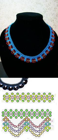 Collar con su esquema Diy Necklace Patterns, Jewelry Patterns, Beading Patterns, Seed Bead Jewelry, Beaded Jewelry, Jewellery, Bead Loom Bracelets, Beaded Crafts, Beaded Collar