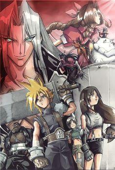 Sephiroth, Aerith Gainsborough, Cait-Sith, Vincent Valentine, Barret Wallace, Cloud Strife, Yuffie Kisaragi, and Tifa Lockhart. Fan art. Final Fantasy VII.