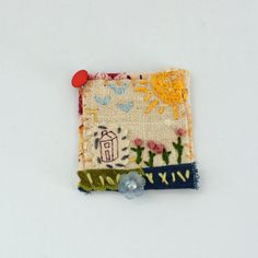Textile Art Collage Pin - A sun shinny day pin by judithadesigns09 on Etsy