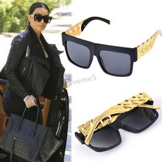 Oversized Metal Gold Chain fashion sunglasses Big frame