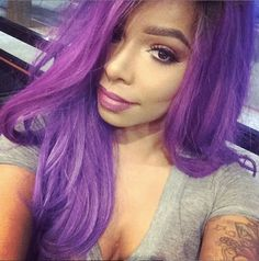 Black girl, purple hair