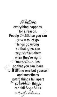 Marilyn Monroe Quote I Believe Everything happens for a reason Vinyl Lettering Wall Saying 18x30 Size SHIPPING is only 2.99