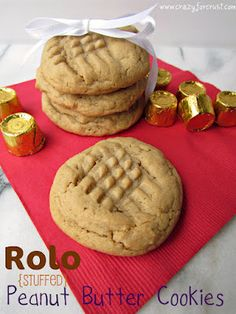 Rolo stuffed pb cookies - yum!  I'd probably use refrigerated cookie dough cause I'm lazy like that, but looks great either way.