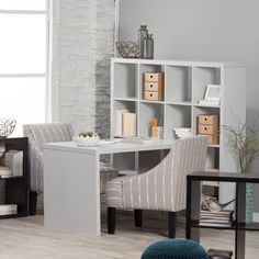 Hudson 16-cube Shelf with Desk Gray Melamine Finish Desk Shelf Durable Honeycomb Construction. Desk is connected to wall of shelving. Engineered Wood in Neutral Gray Melamine Finish. Shelf - 58.55W x 11.65D x 58.55H Inches. Desk - 45.0W x 28.50D x 29.50H Inches. Use as Bookcase, Room Organizer or Divider for any room or office. Buy yours today!.