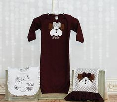 Hey, I found this really awesome Etsy listing at https://www.etsy.com/listing/564634061/baby-girl-bulldog-msu-gown-bib-and-burp