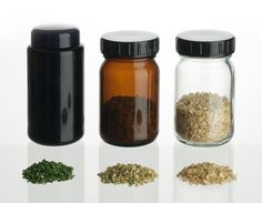 """Take a look at them in action. As proven in storage testing, herbs (see the chives on the left of the picture) left in NHT Violet Glass for 2 months and periodically exposed to sunlight, looked and smelled """"noticeably fresher"""", when compared to those that were stored in white or brown glass containers."""