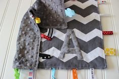 Personalized Chevron Ribbon Baby Blanket  Tag by weeandmestyle, $24.00