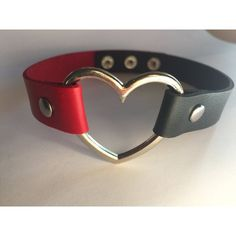 Black and Red Harley Quinn Choker (£12) ❤ liked on Polyvore featuring jewelry, necklaces, heart necklace, choker jewelry, heart choker necklace, vegan jewelry and heart shaped necklace
