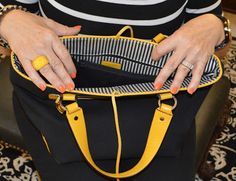 Friendship, Life and Style: black and white stripes with mustard - Kate Spade purse
