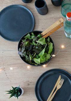 Salad Bowls, Ceramic Plates, Spinach, Ceramics, Vegetables, Handmade, Etsy, Black, Food